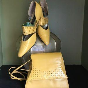 J RENEE heels with matching handbag yellow W/studs